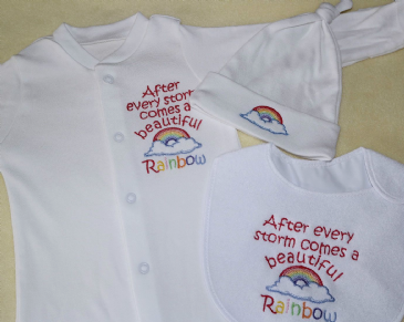 After a storm comes a beautiful rainbow embroidered sleepsuit,bib and hat set